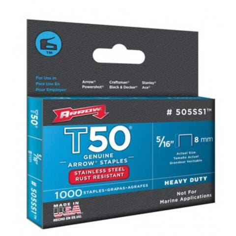 Arrow 505SS1 Stainless Steel T50 Staples, 5/16""
