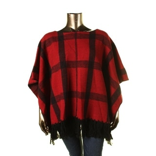 Ralph Lauren Womens Boatneck Plaid Poncho Sweater - L/XL