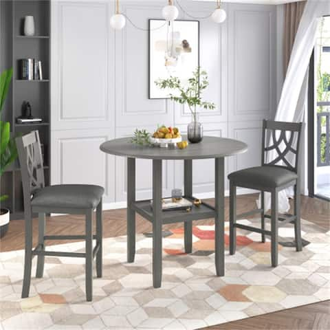 3 Pieces Counter Height Wood Dining Set with Round Drop Leaf Table,Gray