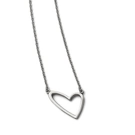 Chisel Stainless Steel Polished Heart Necklace - 17.5 in