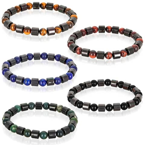 Gunmetal Plated Hematite and Natural Stone Beaded Stretch Bracelet