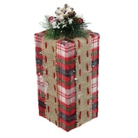 """10.5"""" Red Plaid Rectangular Gift Box with Pine Burlap Bow Table Top Christmas Accent"""