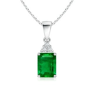 Angara Prong Set Emerald Cut Emerald Pendant with Diamond - Green