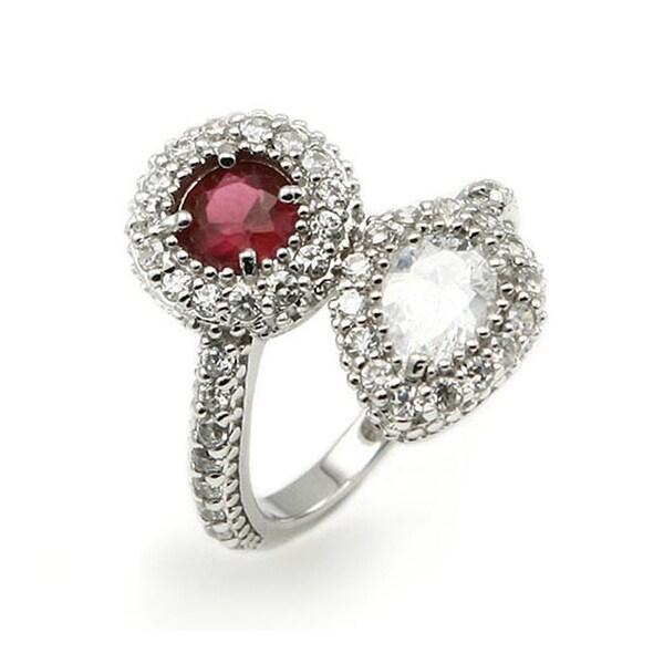 Sterling Silver Ladies Ring w/ Ruby & White CZ