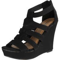 Top Moda Womens Lindy-50 Strappy Open Toe Wedge Sandals