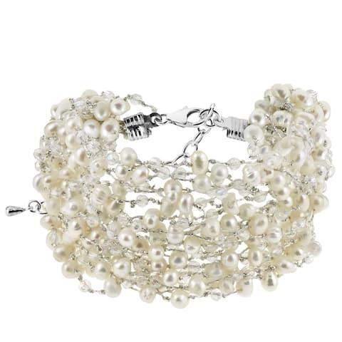 Handmade Enchanting Iridescence White Natural Pearls Multi Strand Layered Bracelet (Thailand)