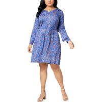 NY Collection Womens Plus Mini Dress Floral Print Ruffle Trim