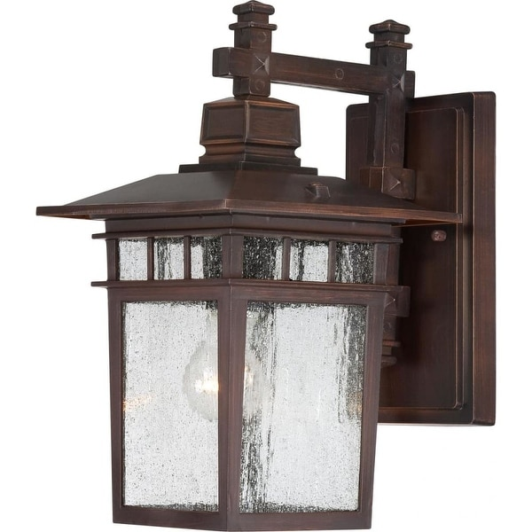 "Nuvo Lighting 60/4958 Cove Neck 1-Light 14"" Tall Outdoor Wall Sconce with Seedy Glass Shade - ADA Compliant"