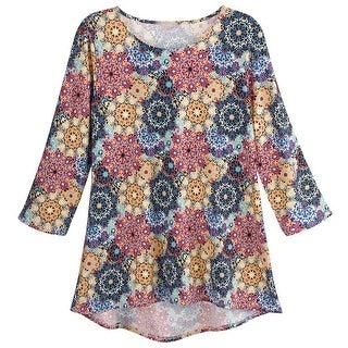 Sunny Leigh Women's Regalia Medallion Tunic - 3/4-Sleeve Mandala Pattern Shirt