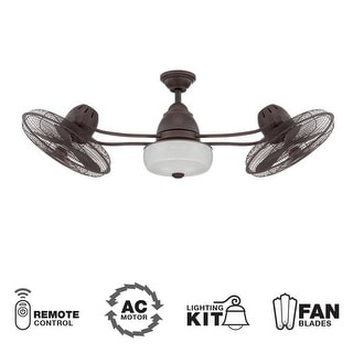 "Craftmade Bellows II 48"" 3 Blade Indoor Ceiling Fan - Blades, Remote and Light Kit Included - Stainless Steel"