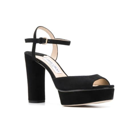 Jimmy Choo Women's Suede Leather Peachy 105 Sandals Black