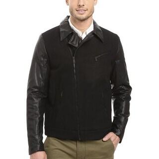Calvin Klein Mixed Media Asymmetric Zip Motorcycle Jacket Black Medium M