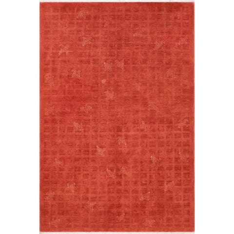 Boho Chic Overdyed Doug Rust/Orange Hand knotted Wool Rug 5'11 x 8'8 - 5 ft. 11 in. x 8 ft. 8 in.