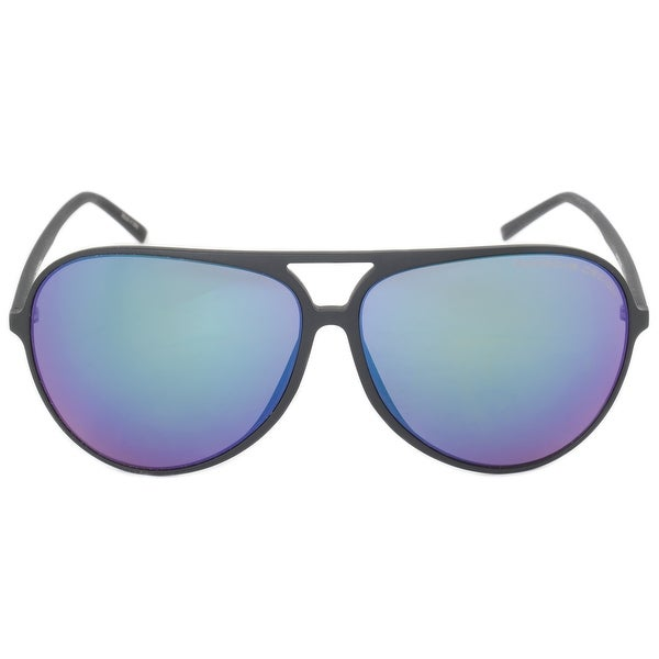 Porsche Design Design P8595 C 63 Aviator Sunglasses for Men | Matte Black Frame | Blue Violet Mirror Lens