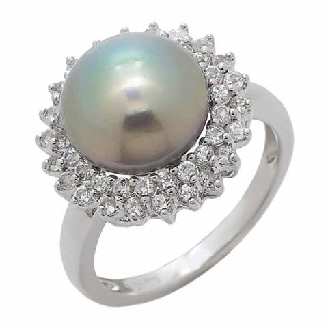 Grey Freshwater Halo Pearl Ring with two row of White Topaz in Rhodium Plated, by Pearl Lustre