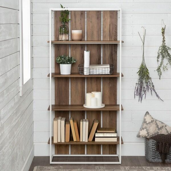 The Gray Barn Barnett Slat Back Bookshelf - White / Reclaimed Barnwood. Opens flyout.