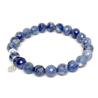 "Blue Sodalite Lucy 7"" Sterling Silver Stretch Bracelet"
