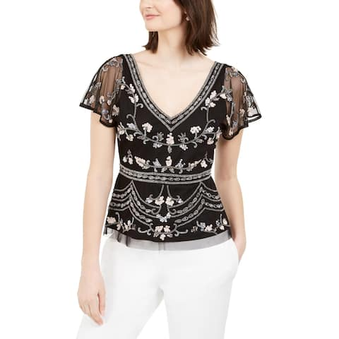Adrianna Papell Womens Top Embellished V-Neck - Black Multi