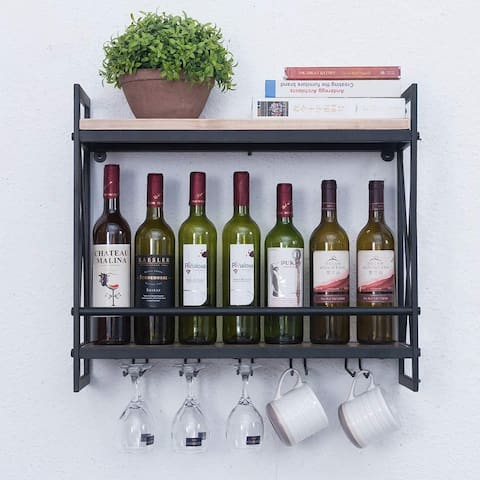 ELIMAX'S Industrial Wine Racks Wall Mounted with 6 Stem Glass Holder
