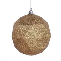 6 in. Antique Gold Glitter Geometric Christmas Ornament Ball - 4