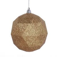 8 in. Antiqueue Gold Glitter Geometric Christmas Ornament Ball
