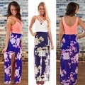 Womens Casual Summer Floral Side Slit Maxi Beach Tank Dress Sundress - Thumbnail 2
