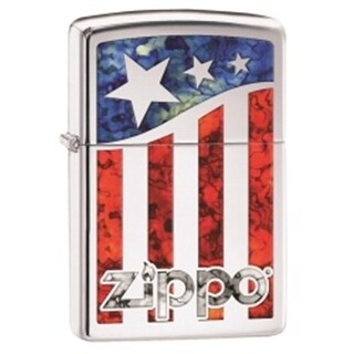 Zippo 29095 Us Flag with Logo High Polish Lighter, Chrome