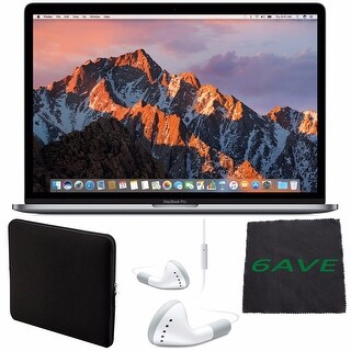 "Apple 15.4"" MacBook Pro with Touch Bar (Space Gray) #MLH32LL/A + White Wired Headphones + Padded Case + Fibercloth Bundle"