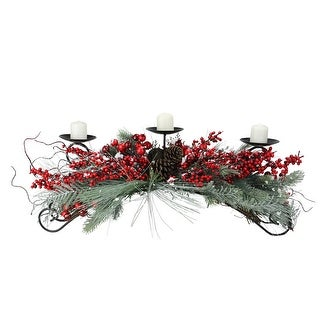 """30"""" Frosted Red Berry and Green Pine Needle Christmas Candle Holder"""