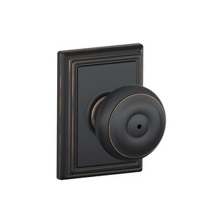 Schlage F40-GEO-ADD Privacy Georgian Door Knobset with the Decorative Addison Rose