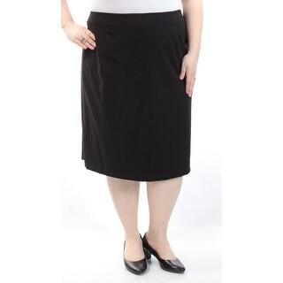 CALVIN KLEIN $65 Womens New 1213 Black Below The Knee A-Line Skirt 24W Plus B+B
