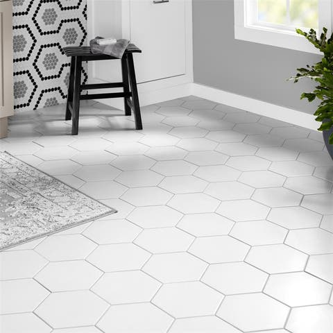 SomerTile 8.625x9.875-inch Textilis Basic White Hex Porcelain Floor and Wall Tile (25 tiles/11.56 sqft.)
