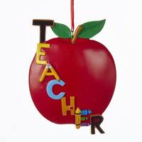 """Pack of 12 Red Apple """"Teacher"""" Christmas Ornaments for Personalization 5"""""""