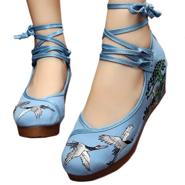Women fashion Casual Shoes BalletCloth Embroidered Shoes Pine Crane blue 34