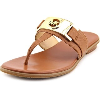Michael Michael Kors Warren Thong Women Open Toe Leather Brown Thong Sandal