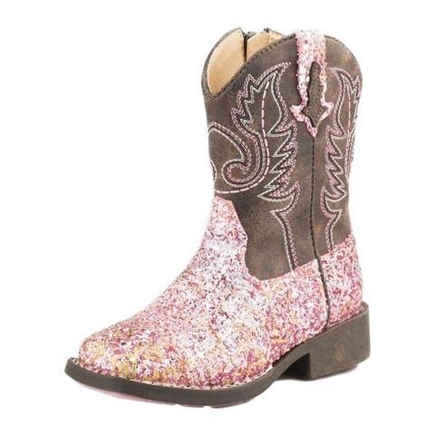 Roper Western Boots Girls Glitter Aztec Zip Pink
