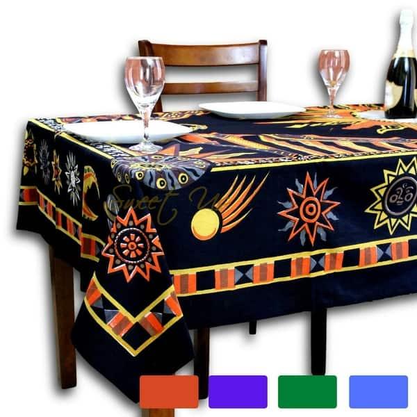 Cotton Celestial Sun Moon Star Tablecloth Rectangle Orange Black Yellow Blue Green Kitchen Dining Linen Overstock 12590519