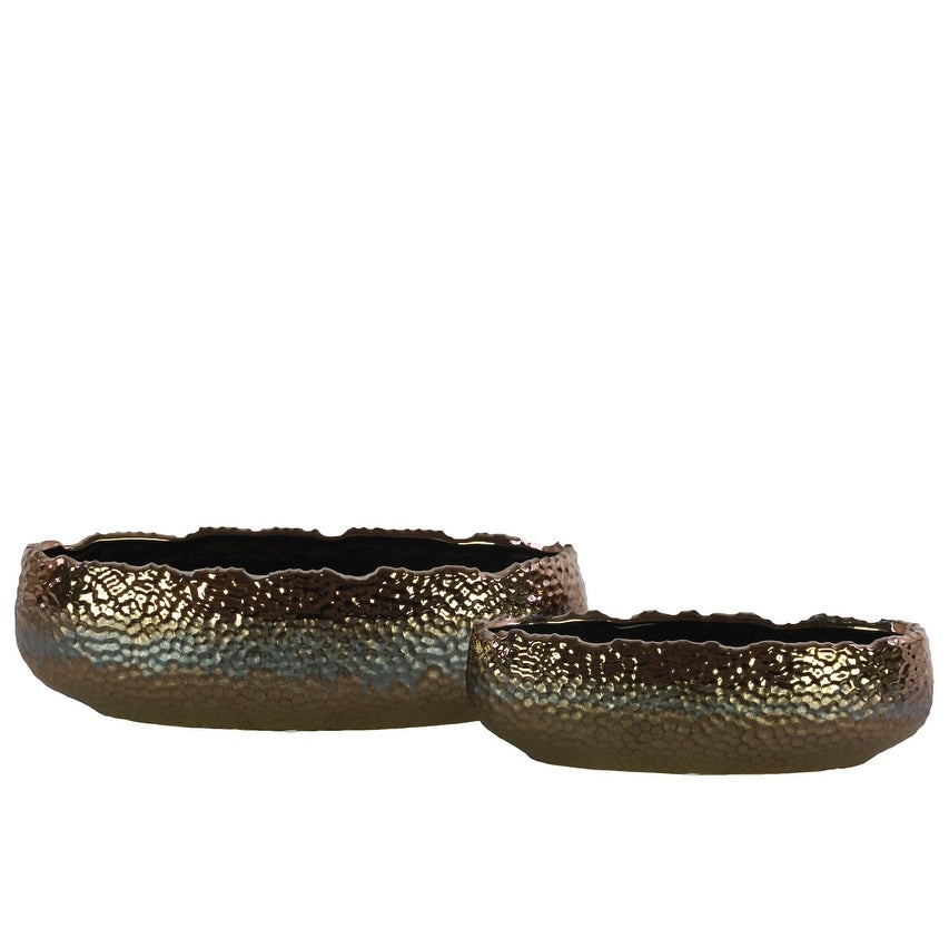 Embedded Fish Scale Irregular Lip Pot With Gloss Banded Rim Top, Set of 2, Gold
