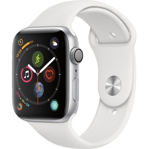 Apple Watch Series 4 (GPS) 44mm Silver Aluminum Case with White Sport Band - Silver Aluminum