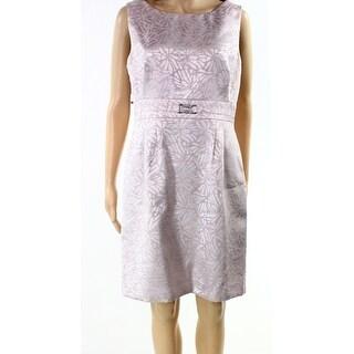 Tahari By ASL NEW Purple Womens Size 10P Petite Pleated Sheath Dress
