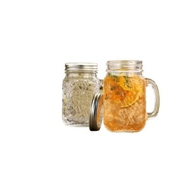Palais Mason Jar Tumbler Mug with Stainless Steel Lid - 16 Ounces - Set of 4 (Hammered Design)