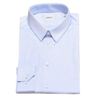 Armani Collezioni Men Slim Fit Cotton Dress Shirt Blue