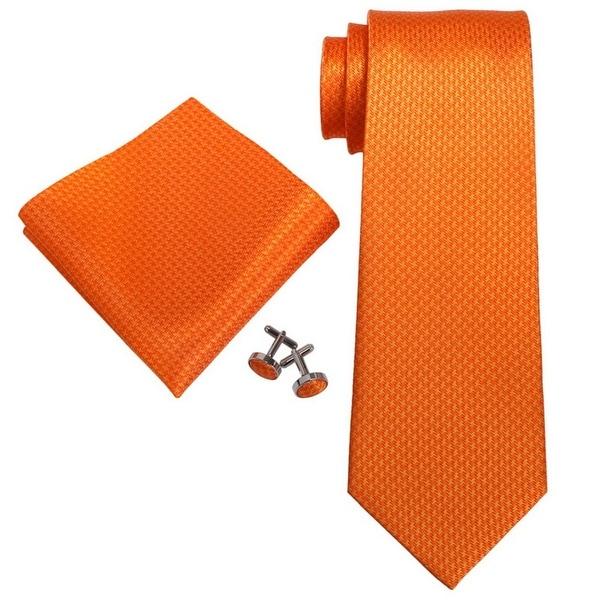 Men's Orange Solid 100% Silk Neck Tie Set Necktie + Hanky + Cufflinks 18E11 - regular