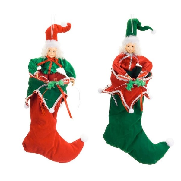 """Set of 2 Red and Green Christmas Elf Stockings 21"""""""
