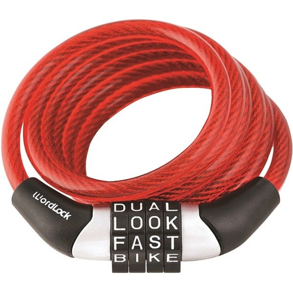 Wordlock Cl-455-Rd Combination Non-Resettable Cable Lock (Red)