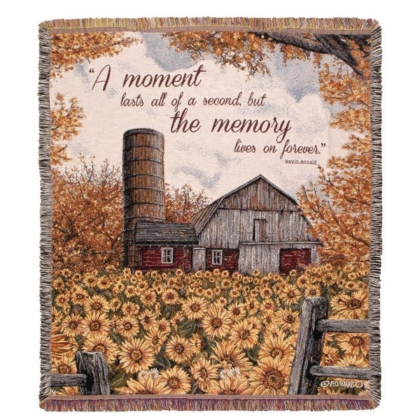 "Rural Barn and Flowers ""A Moment"" Woven Tapestry Afghan Throw Blanket 50"" x 60"""