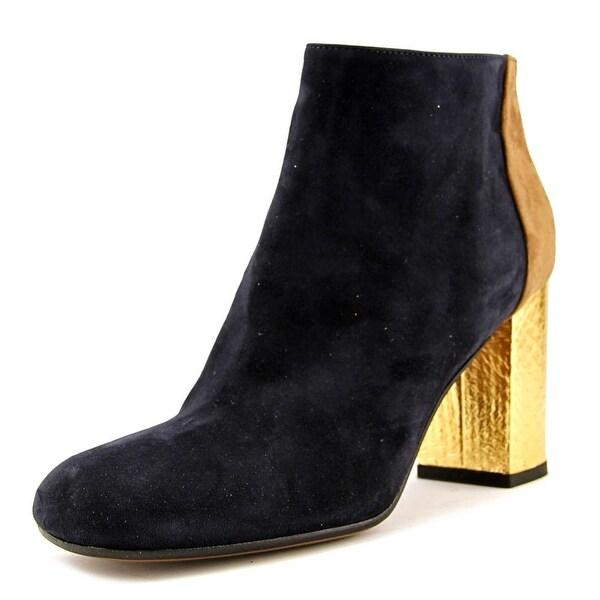 Marni Tronchetto Women Square Toe Leather Blue Ankle Boot