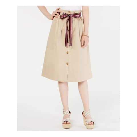 TOMMY HILFIGER Beige Below The Knee A-Line Skirt Size 14