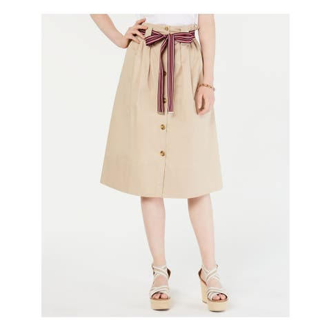 TOMMY HILFIGER Beige Below The Knee A-Line Skirt Size 2