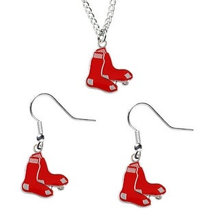Boston Red Sox Necklace and Dangle Earring Charm Set MLB